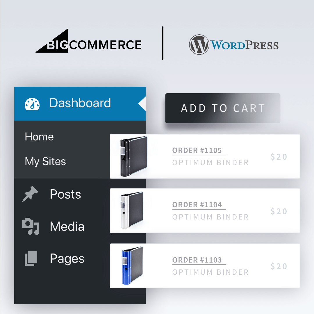 BigCommerce et WordPress combinés.