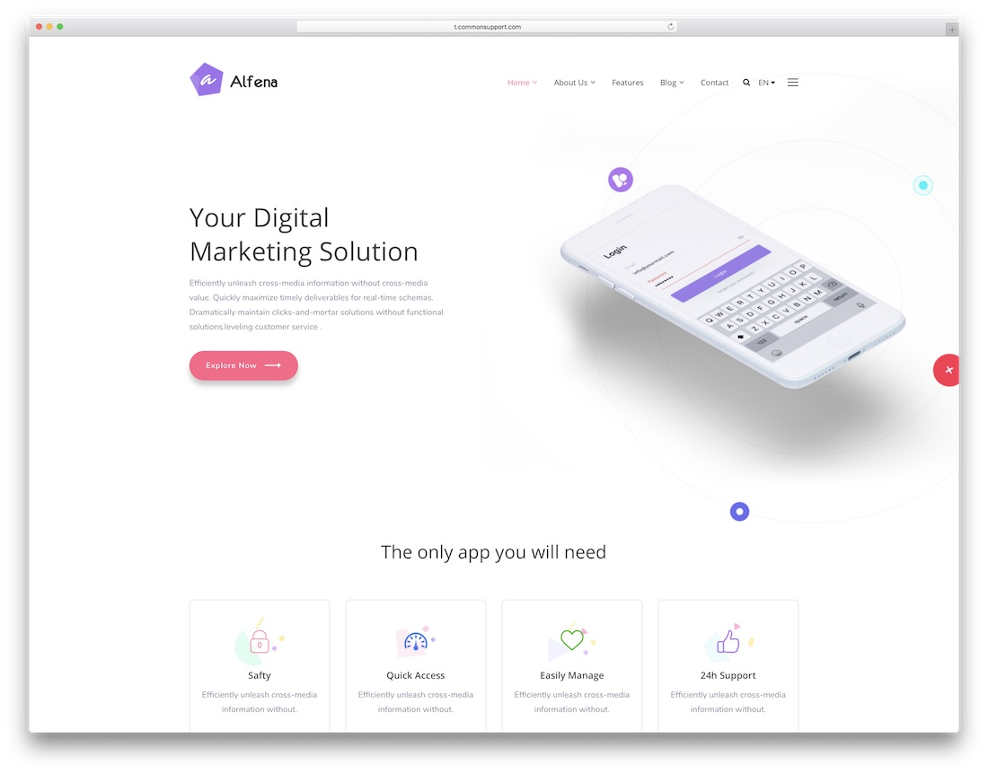 alfena-software company site template
