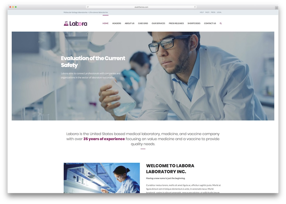 Modèle de site Web Labora Medical