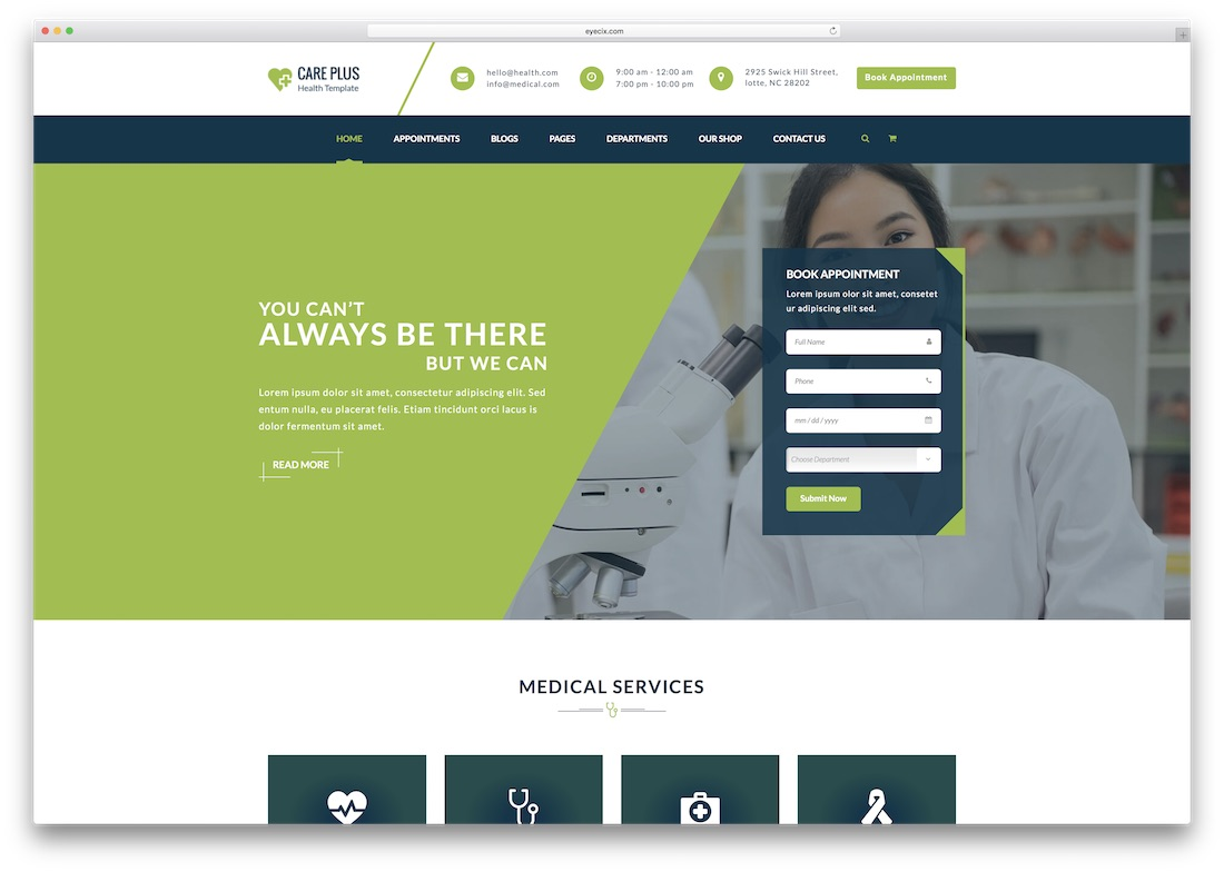 modèle de site médical health careplus