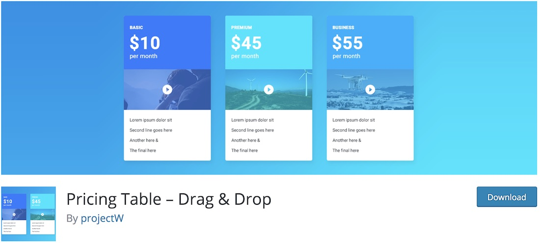 table des prix drag and drop plugin wordpress