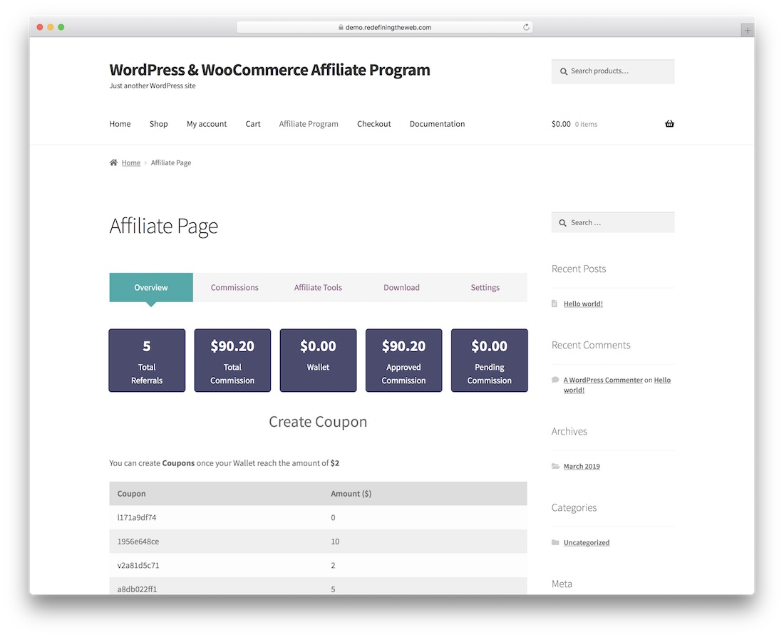 programme d'affiliation wordpress woocommerce