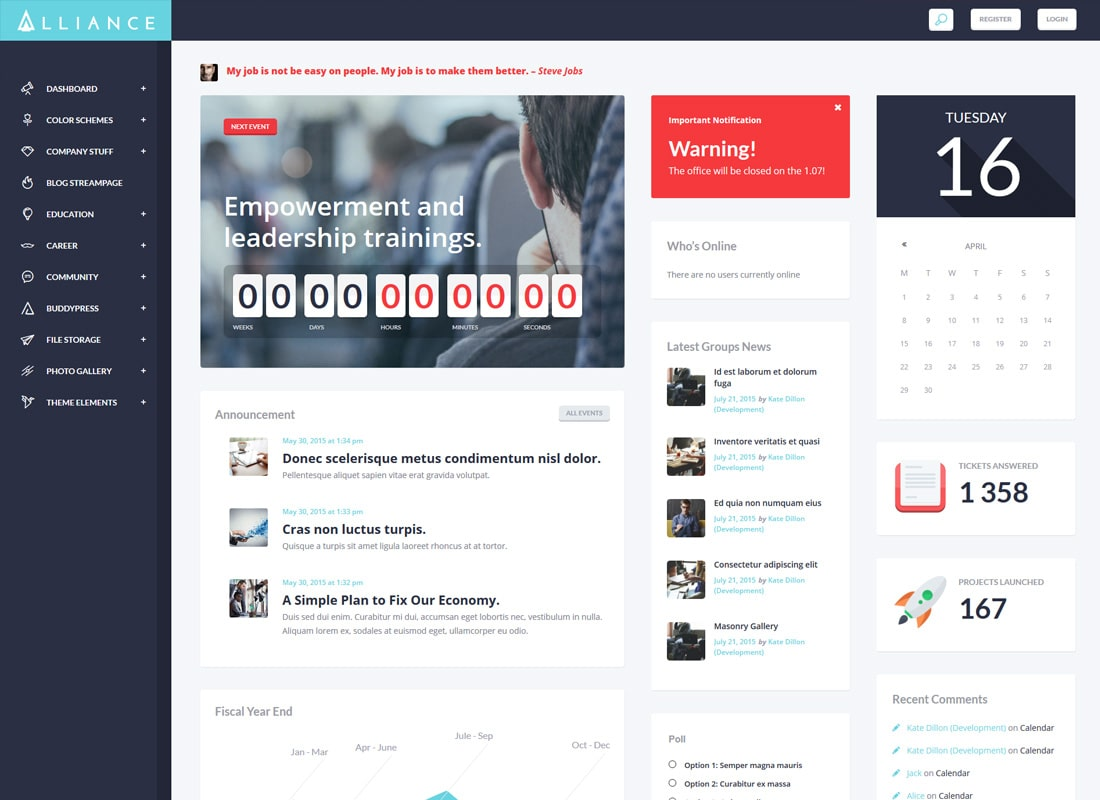 Alliance | Thème WordPress pour sites intranet et extranet