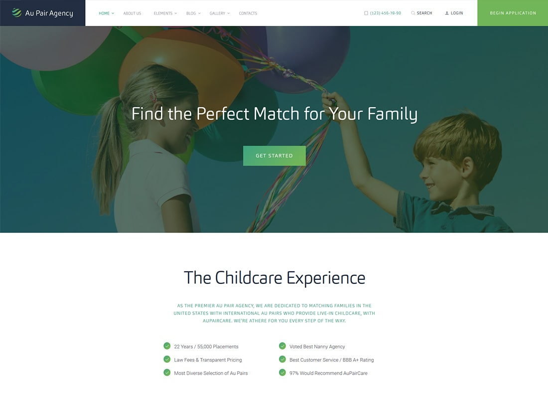 Au-pair | Babysitting & Nanny Agency Thème WordPress