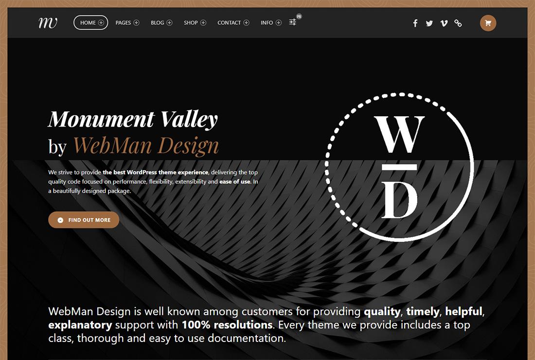 Thème WordPress accessible de Monument Valley