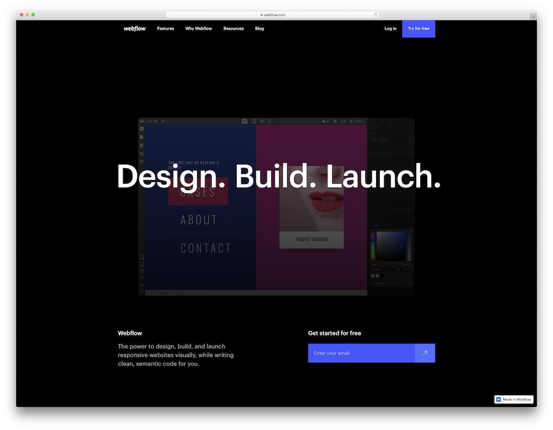 webflow meilleur constructeur de site internet mobile