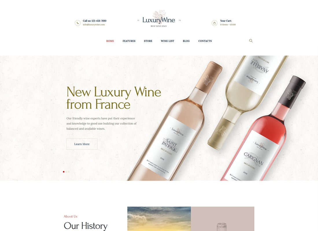 Vin de luxe | Wine House, Winery & Wine Shop Thème WordPress