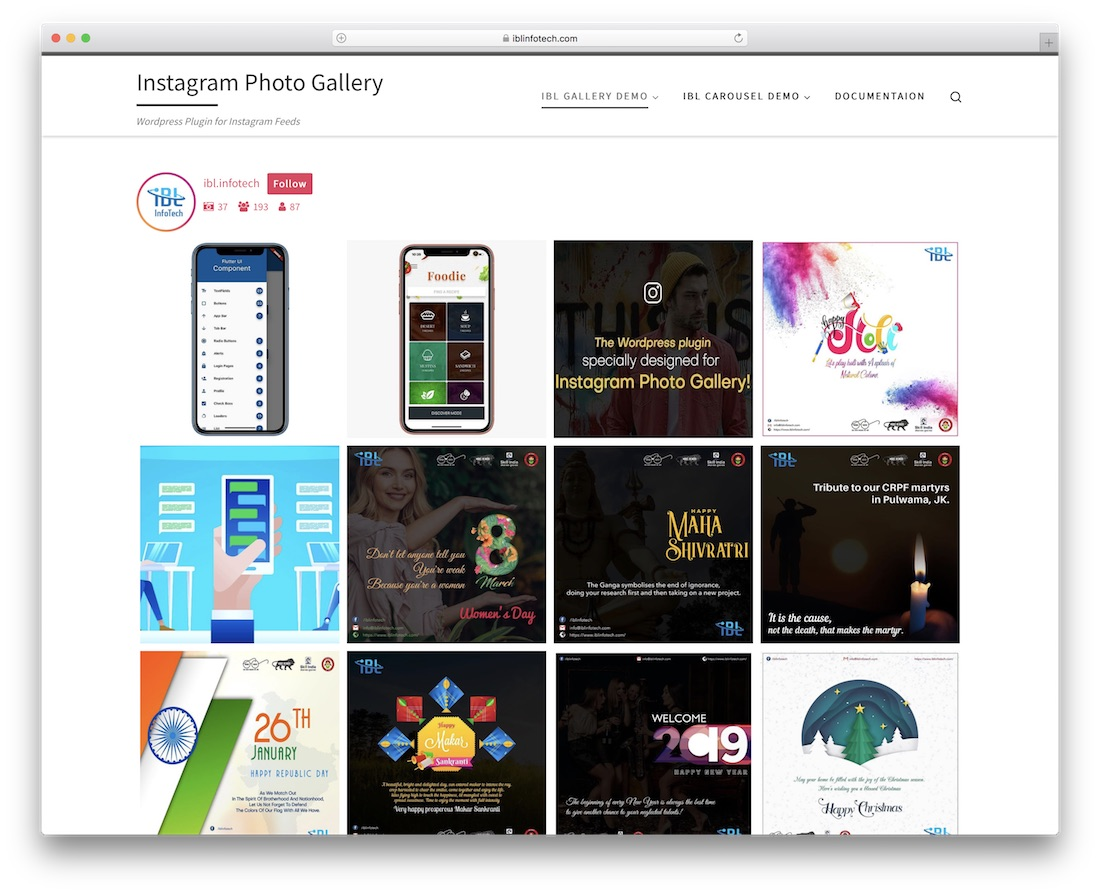 instagram galerie de photos plugin wordpress