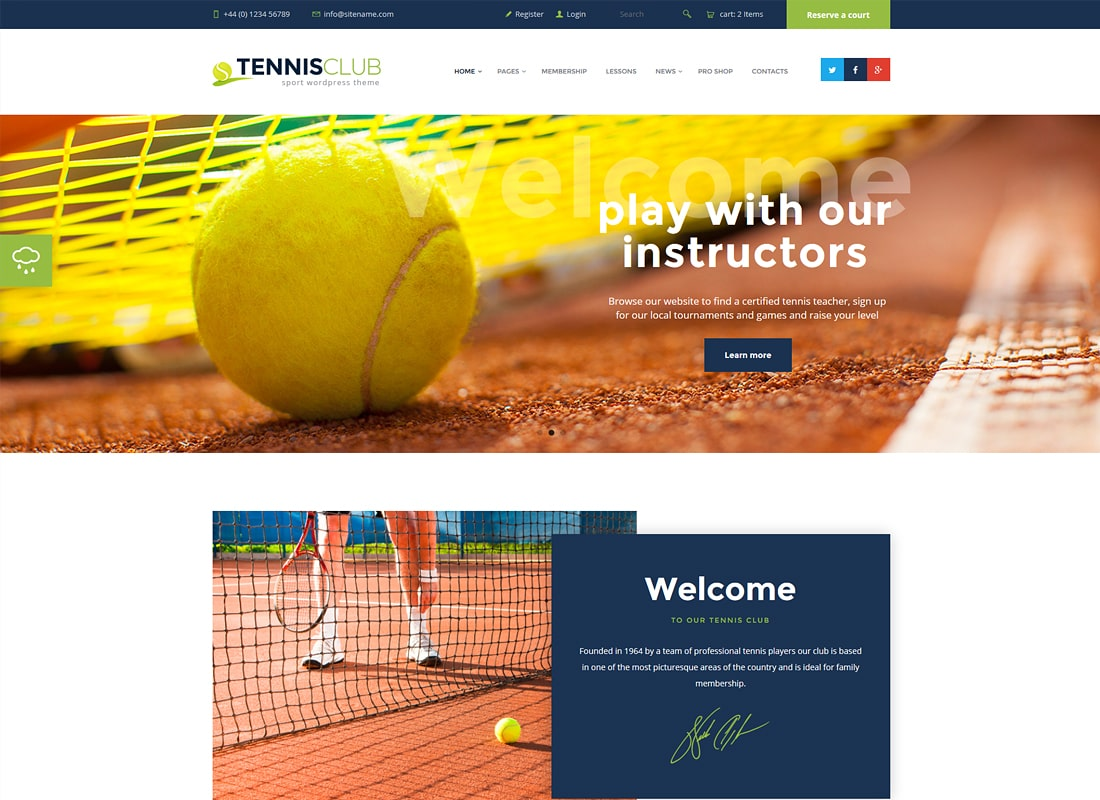 Club de tennis | Modèle de site Sports & Events