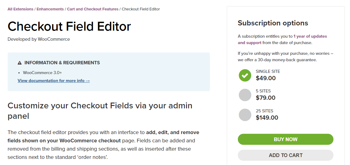 Le plugin Checkout Field Editor.