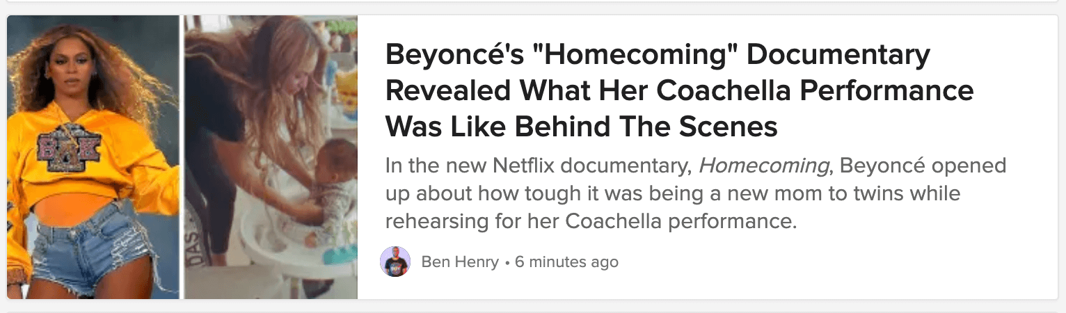 Titre de l'article de blog Buzzfeed sur le documentaire Homecoming de Beyonce.
