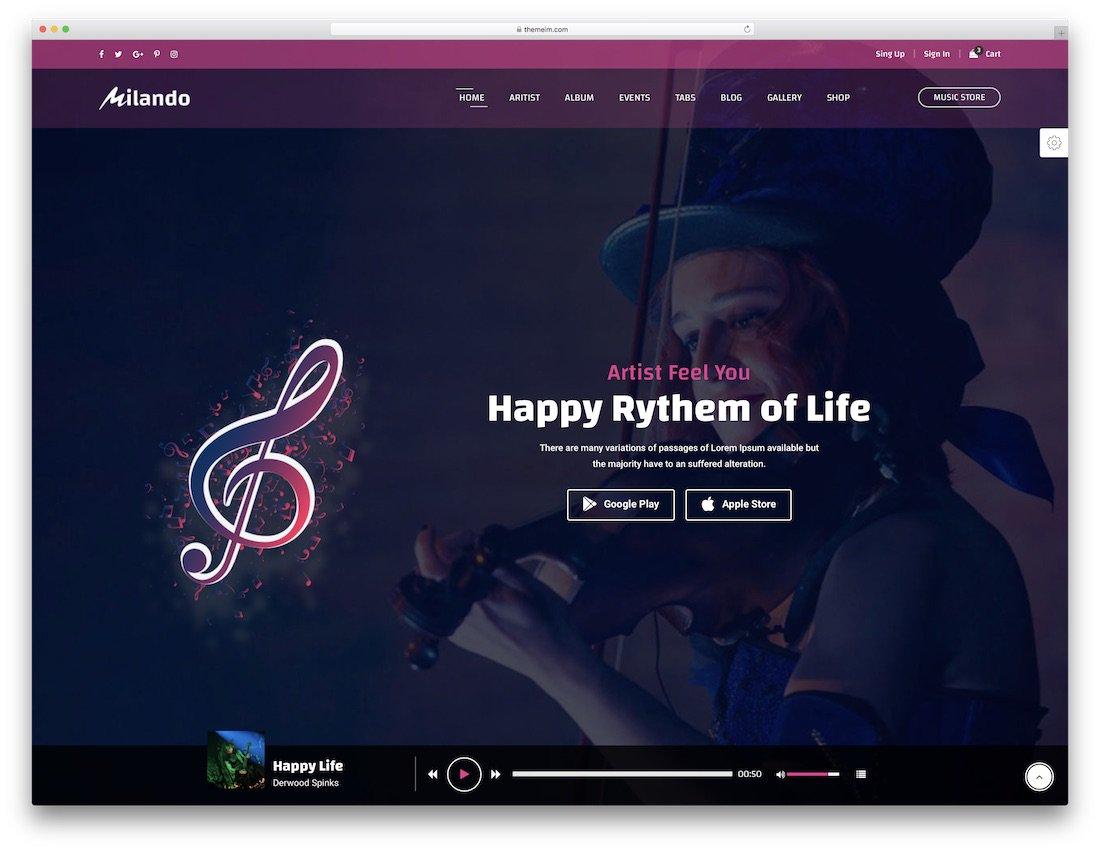 modèle de site Web de musique milando