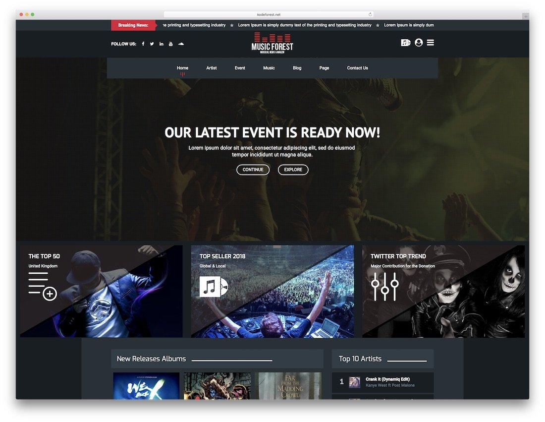 modèle de site de musique musicforest