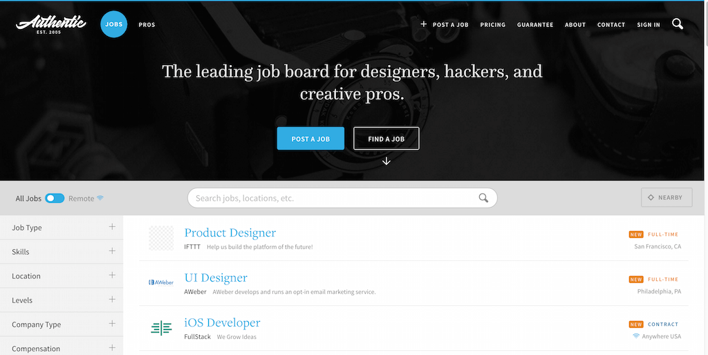 Authentic Jobs Web Design Freelance et Tech Jobs