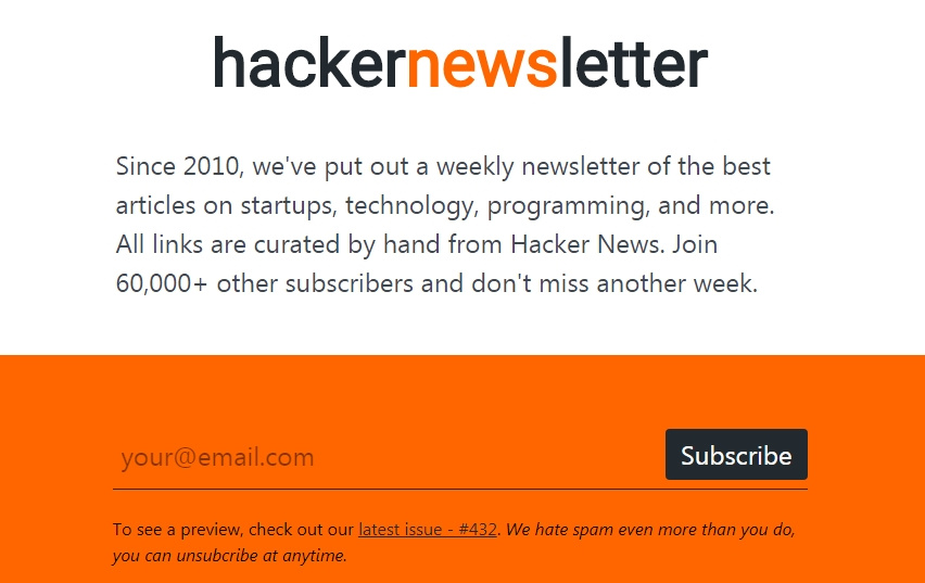 la page d'inscription à la newsletter hackernews
