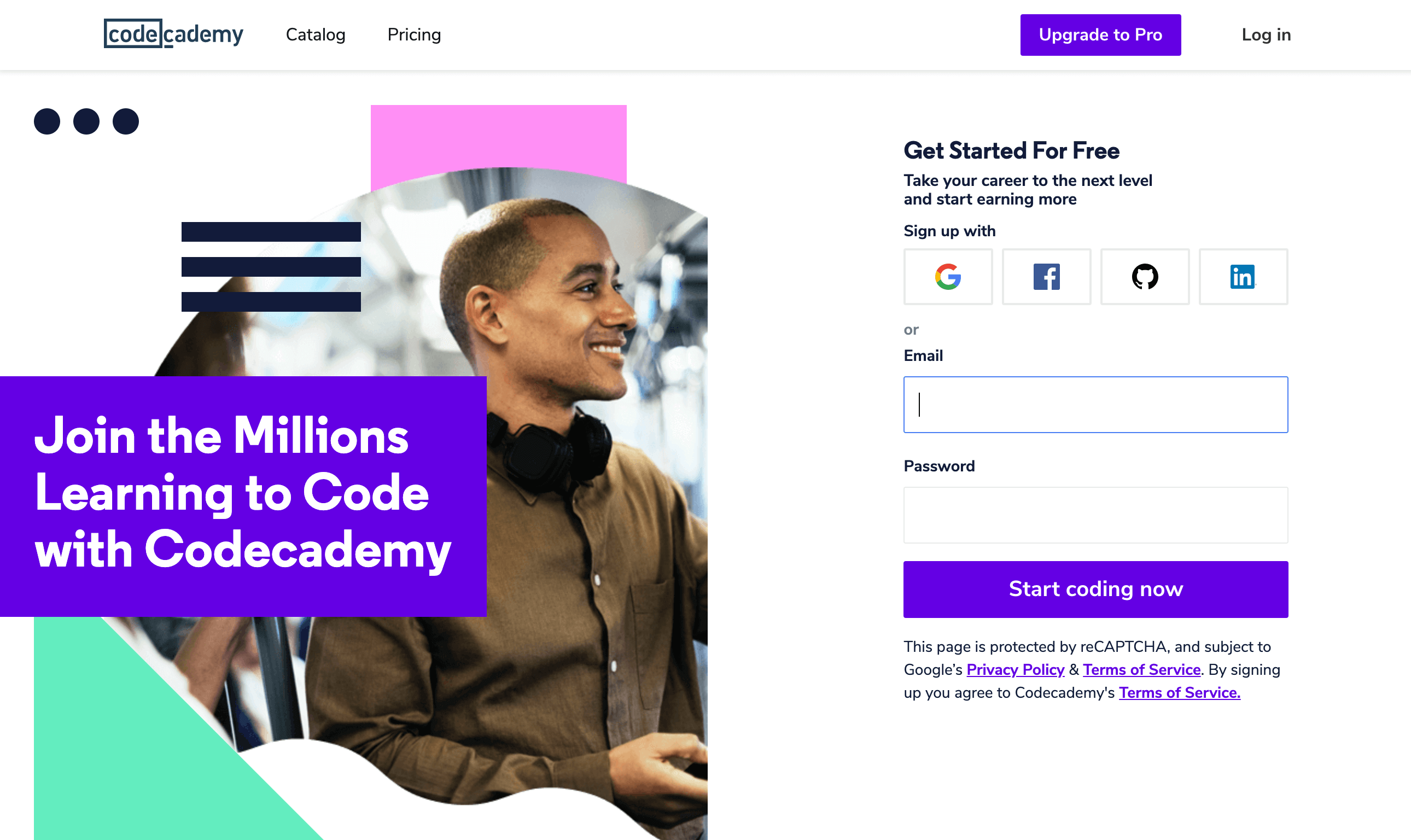 La page d'accueil Codecademy.