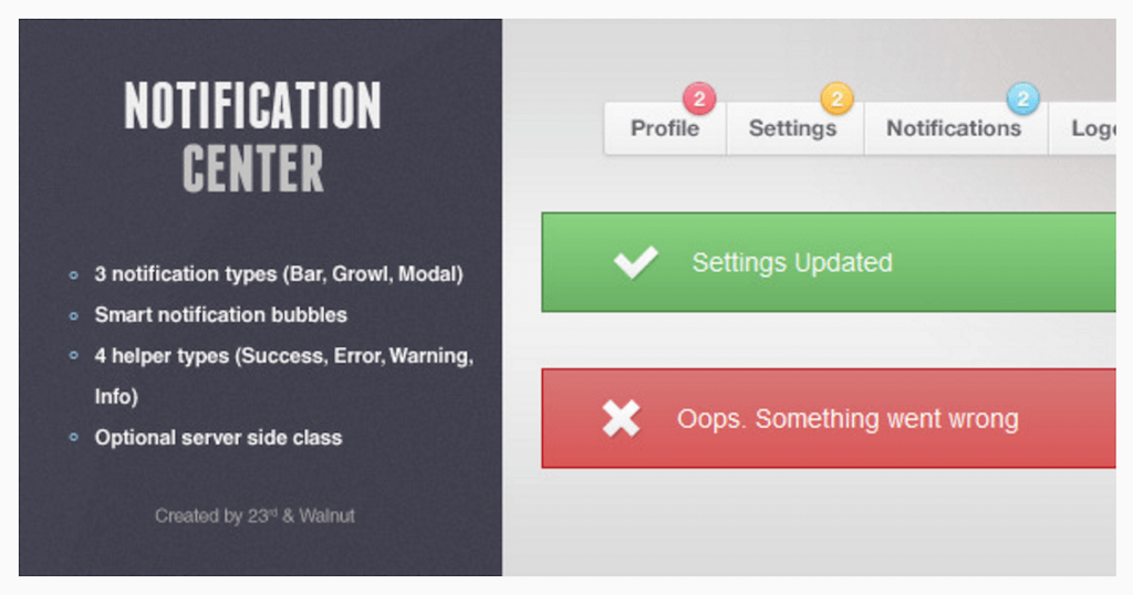 Notification Center 4 Types de notification JavaScript CodeCanyon