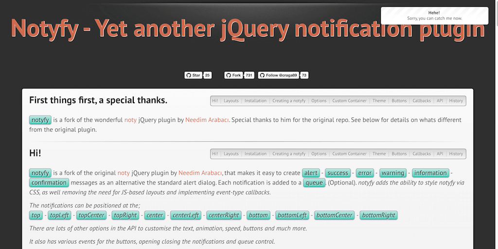 notyfy Encore un autre plugin de notification jQuery