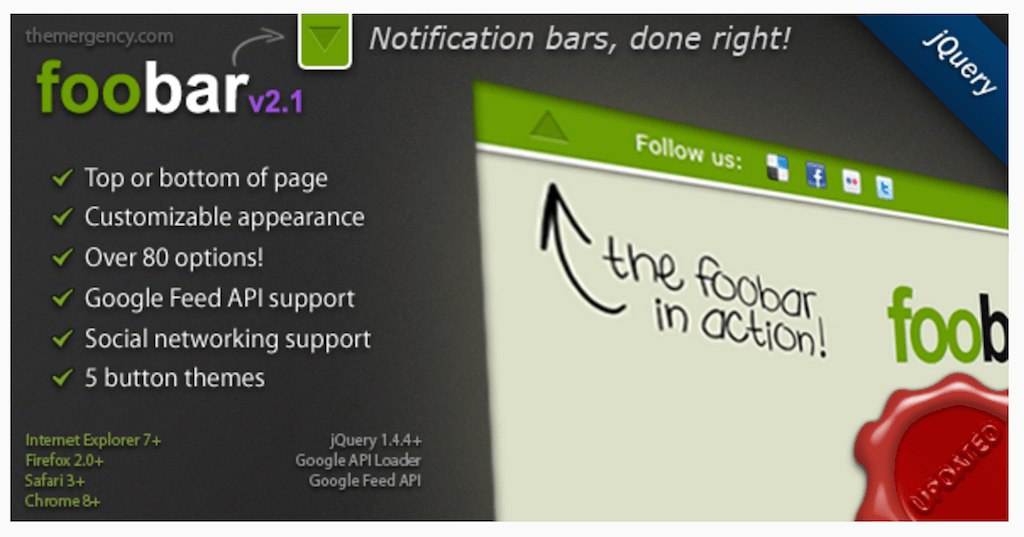 FooBar Une barre de notification jQuery JavaScript CodeCanyon