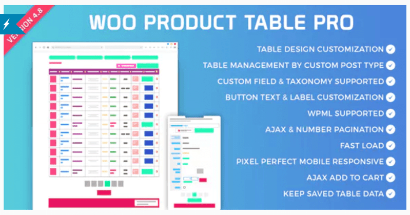 Le plugin Woo Product Table Pro.