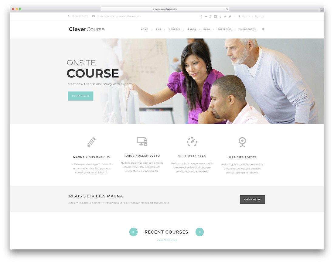 modèle de site Web de cours intelligent