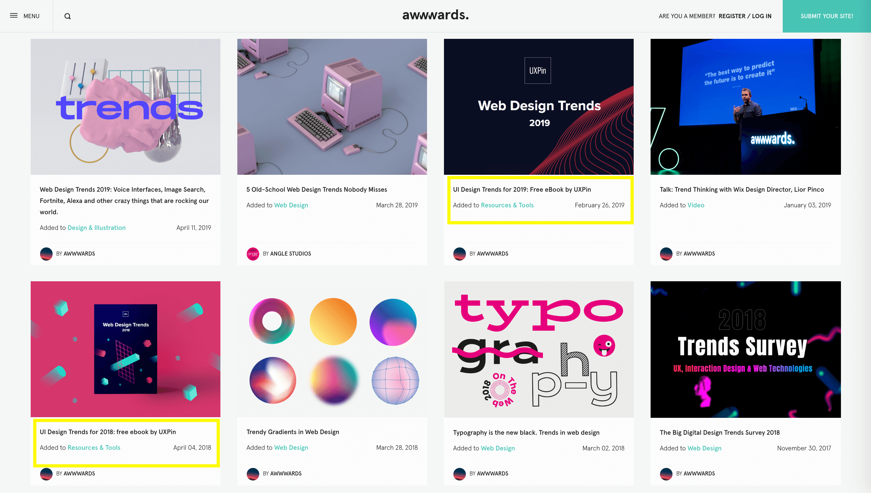 The Awwwards web design magazine puts out an annual e-book on current design trends.