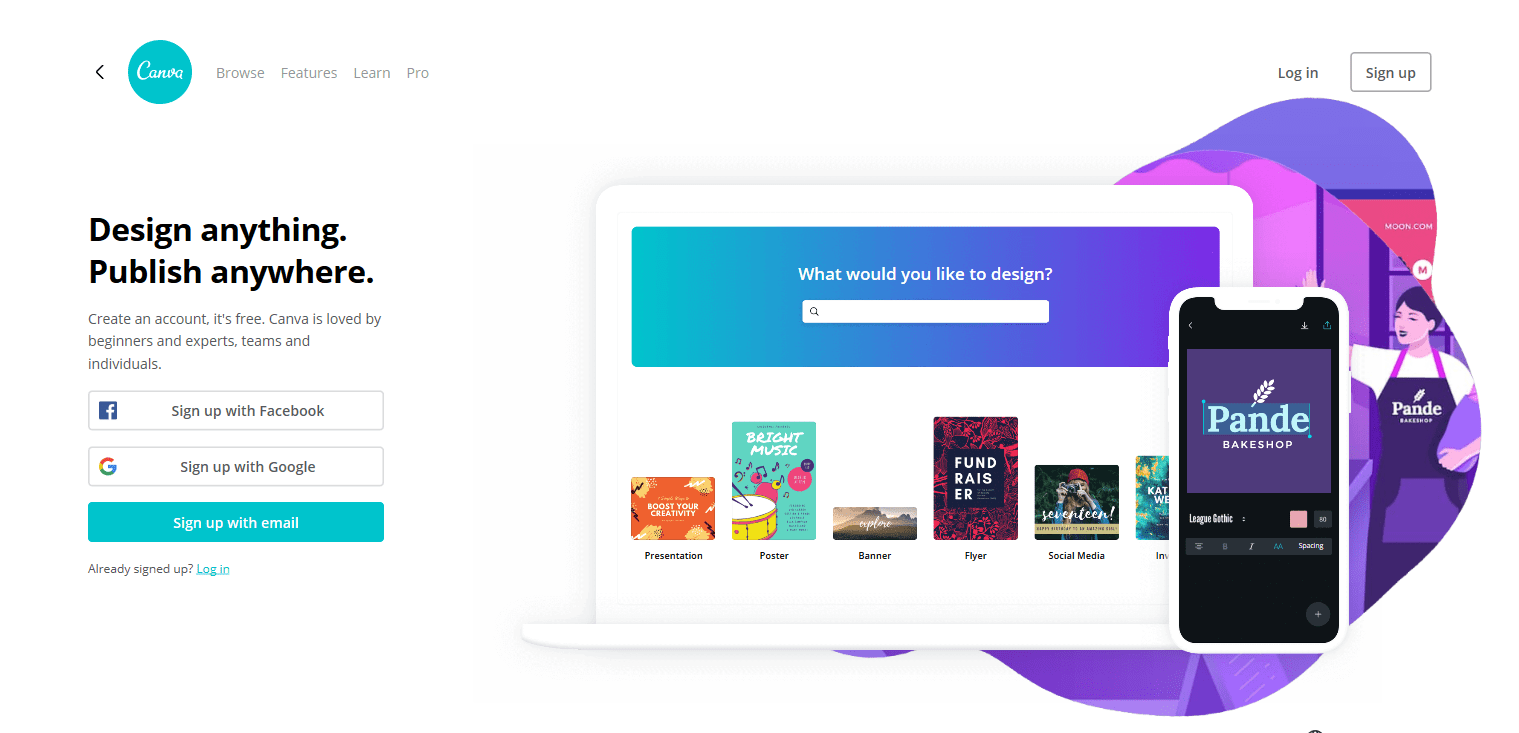 The Canva homepage
