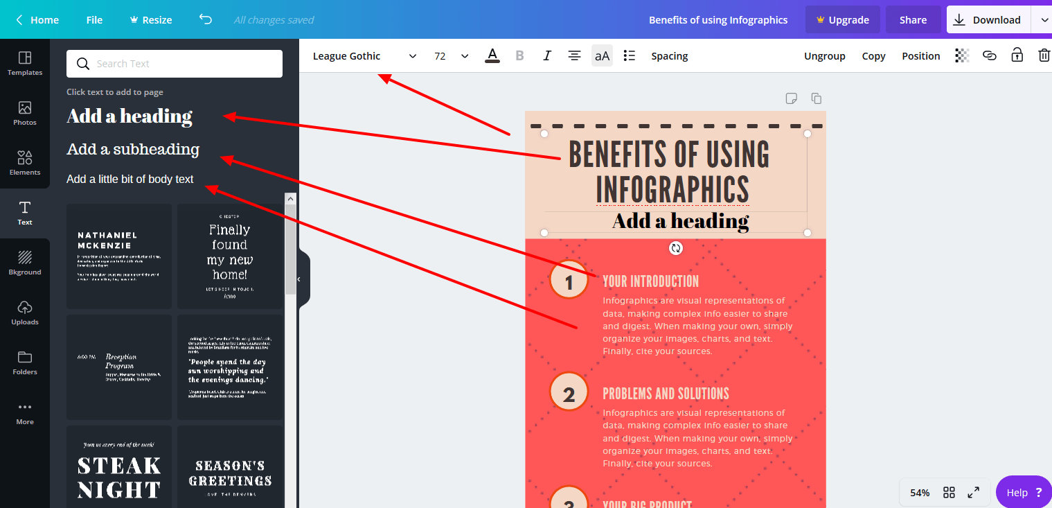 Typography is an important part of how to create an infographic