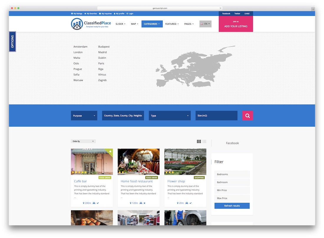 classified place directory website template