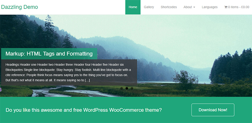 Dazzling - Thème de Business WordPress Design Plat Gratuit