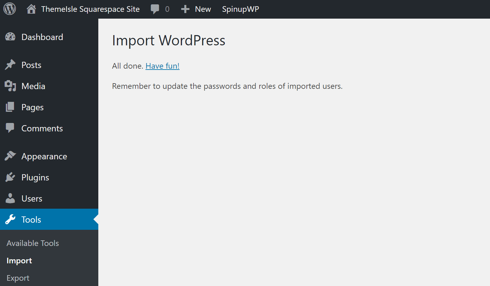 Import WordPress depuis Squarespace