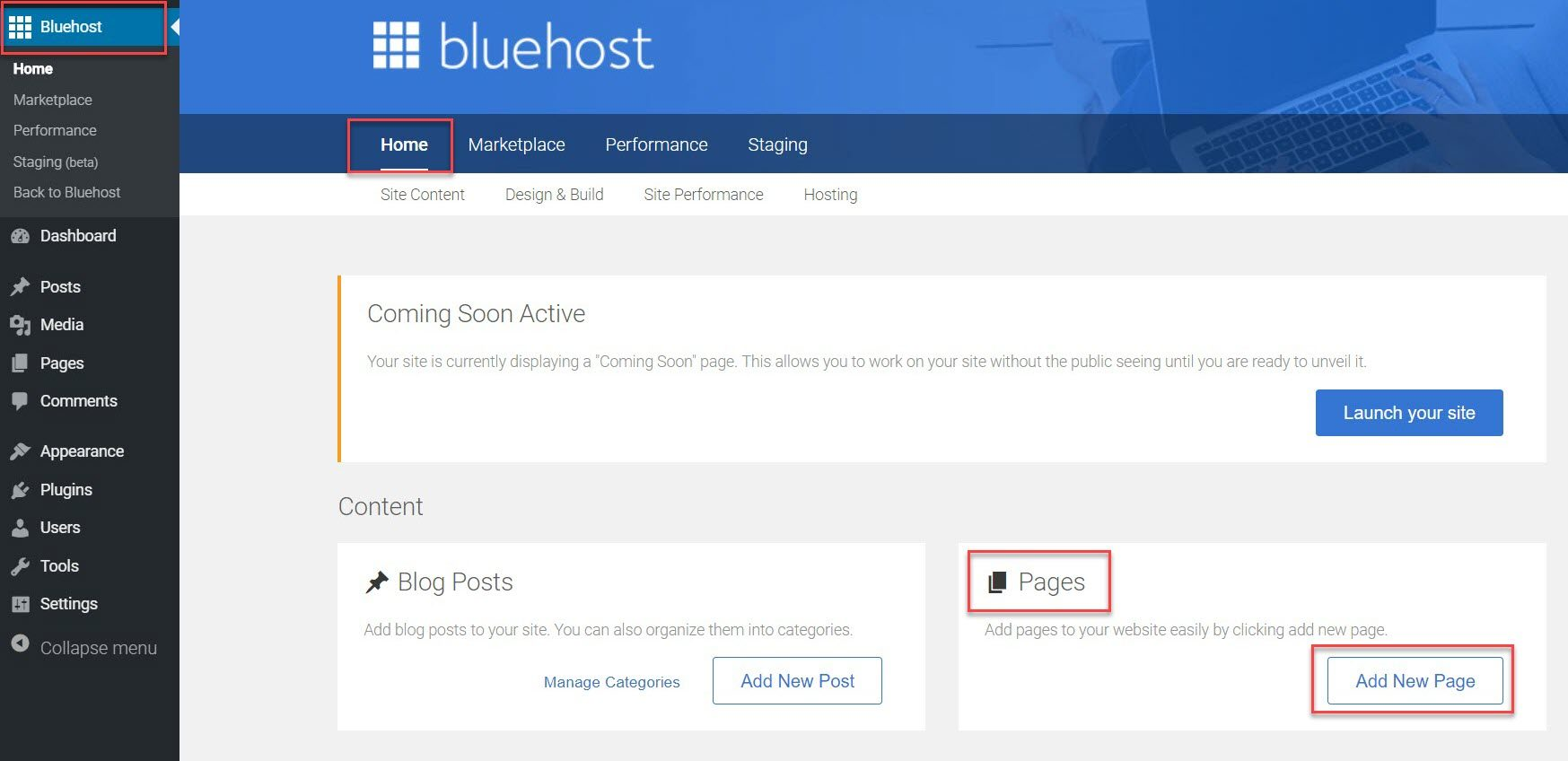 La zone des pages Bluehost après l'installation de WordPress