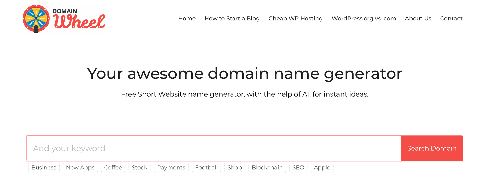 Le site Web Domain Wheel.