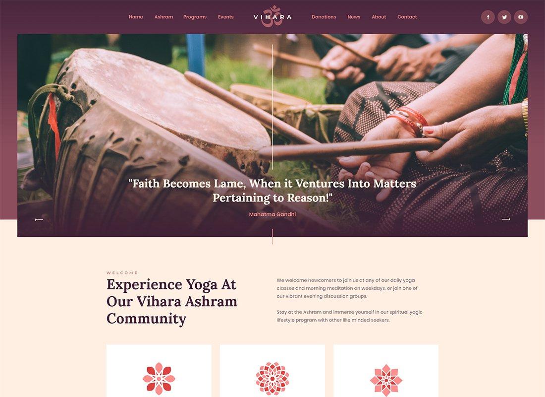 Vihara | Thème WordPress du temple bouddhiste de l'ashram