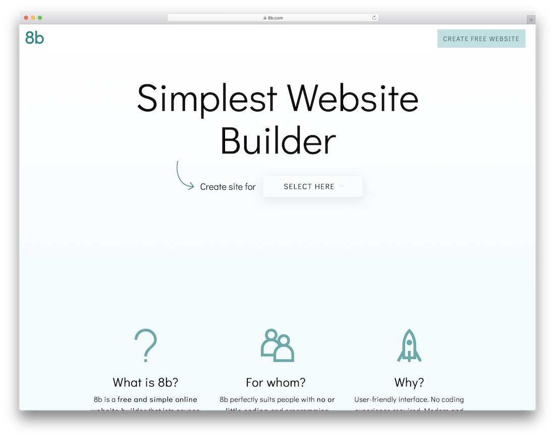 8b constructeur de site web le plus simple