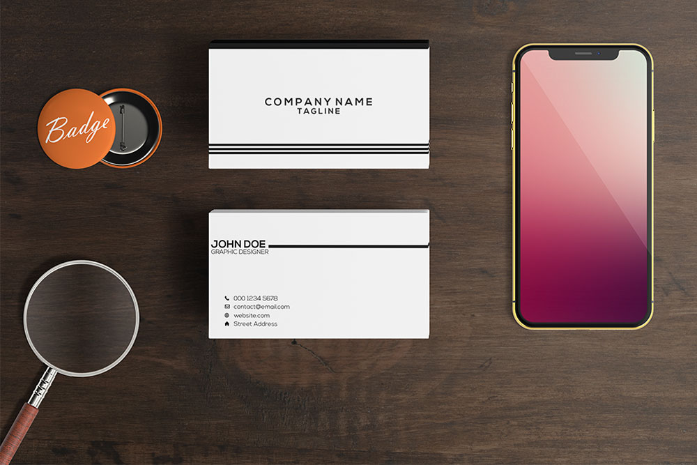 smartphone and business card mockup