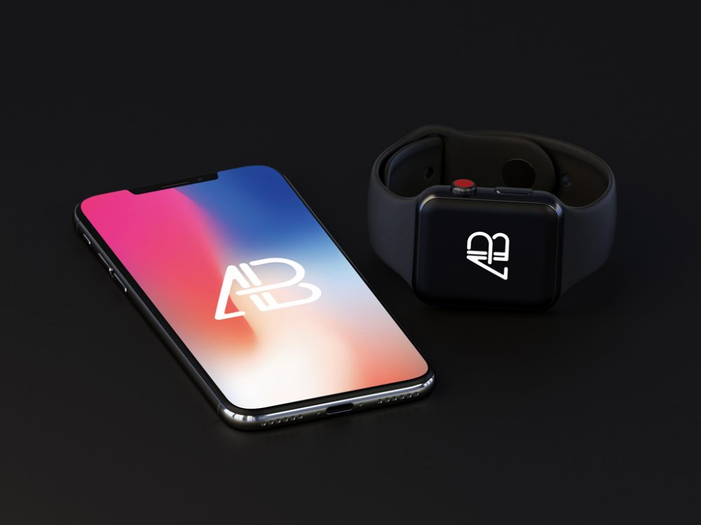 free iphone x with apple watch 3 mockup psd