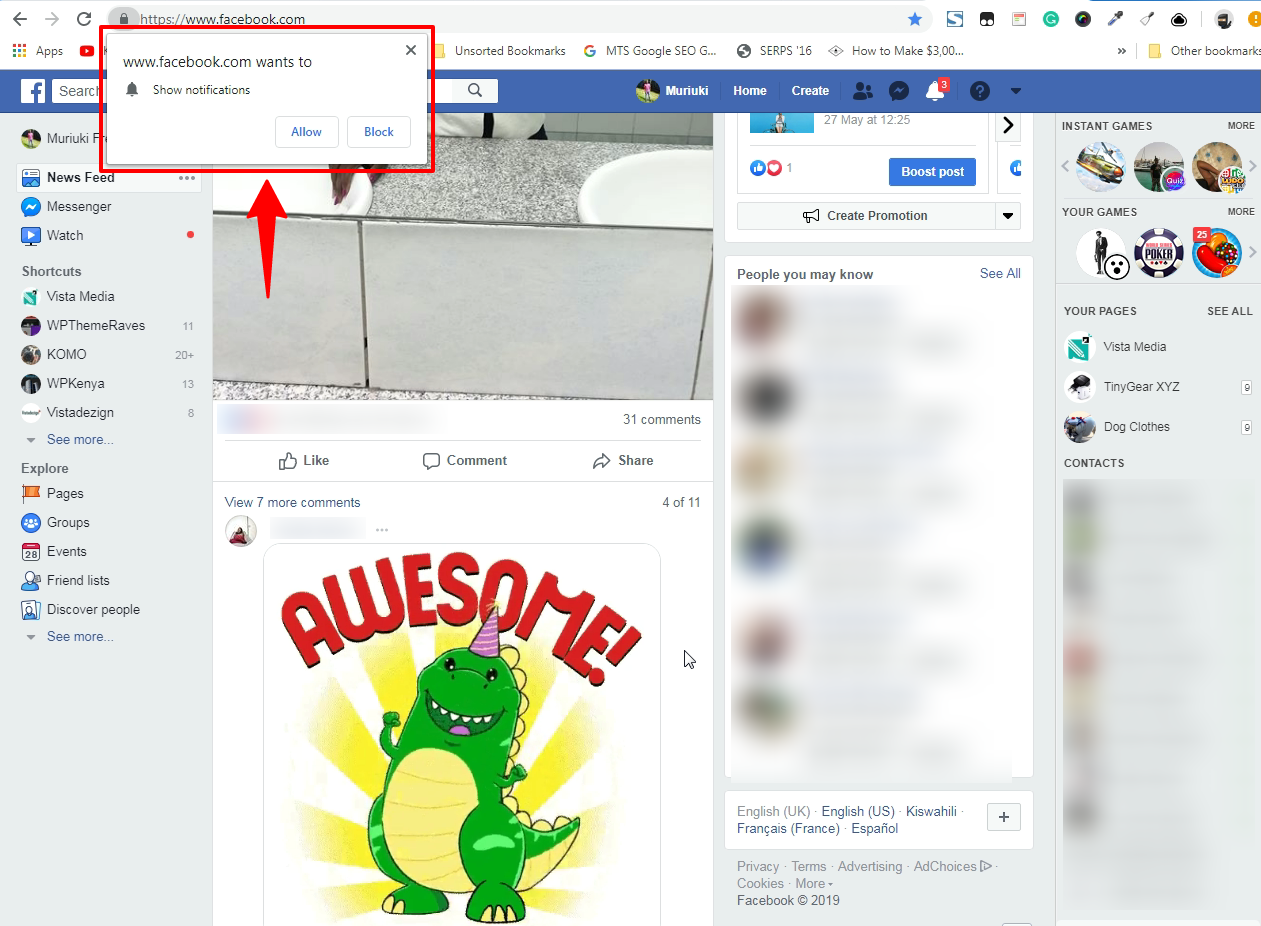 notifications push exemple facebook