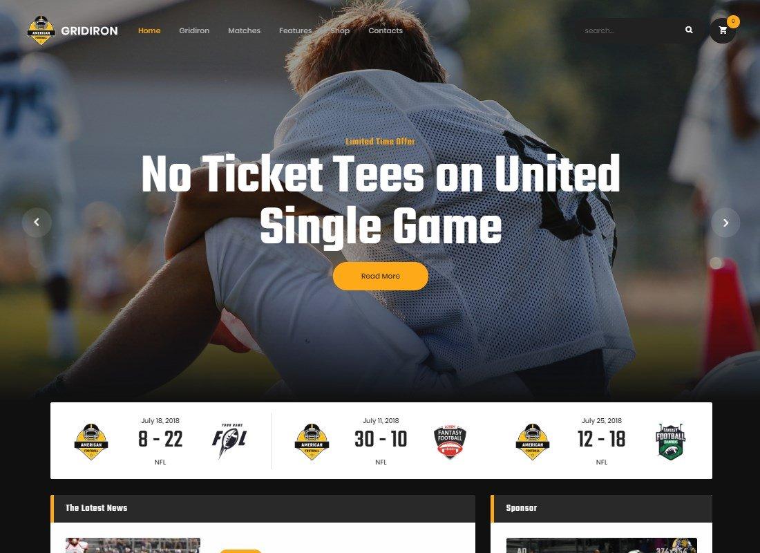 Gridiron | Thème WordPress pour le football américain et l'équipe de la NFL