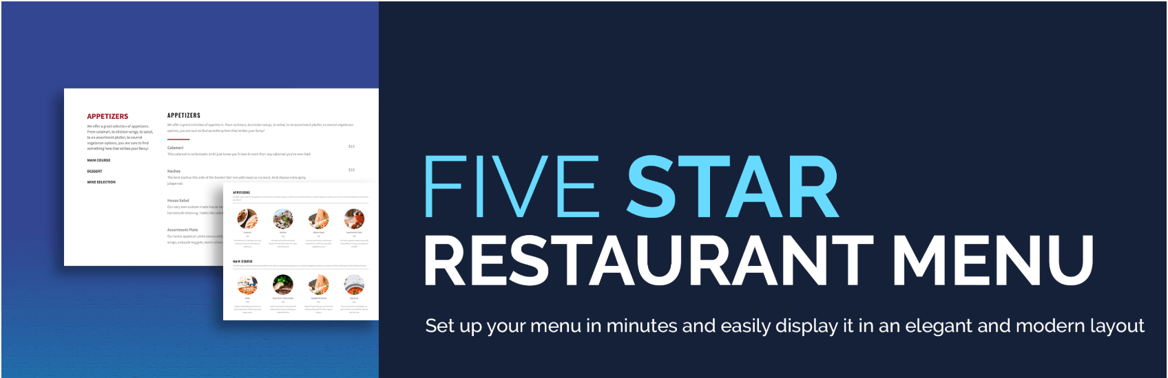 Le plugin Five Star Restaurant Menu pour WordPress.