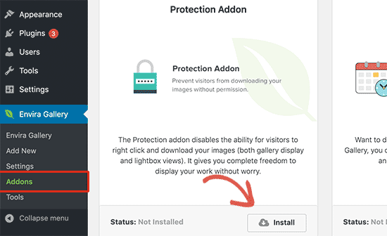 Installer l'addon de protection