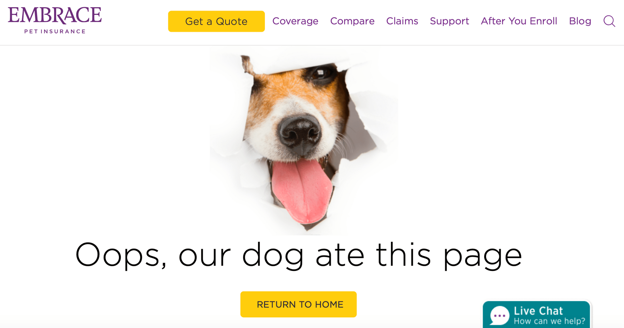 La page d'erreur Embrace Pet Insurance 404.