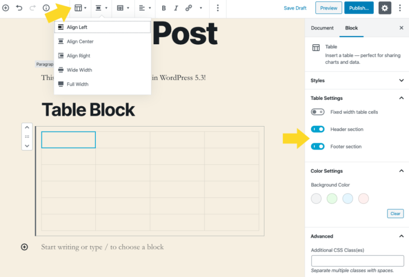 "WordPress Table Block Header Footer ""class ="" wp-image-4679 ""srcset ="" https://i0.wp.com/wphive.com/wp-content/uploads/2019/11/WordPress-Table-Block-Header- Footer.png? W = 1024 & ssl = 1 1024w, https://i0.wp.com/wphive.com/wp-content/uploads/2019/11/WordPress-Table-Block-Header-Footer.png?resize=300 % 2C203 & ssl = 1 300w, https://i0.wp.com/wphive.com/wp-content/uploads/2019/11/WordPress-Table-Block-Header-Footer.png?resize=768%2C521&ssl=1 768w ""tailles ="" (largeur maximale: 709px) 85vw, (largeur maximale: 909px) 67vw, (largeur maximale: 1362px) 62vw, 840px"