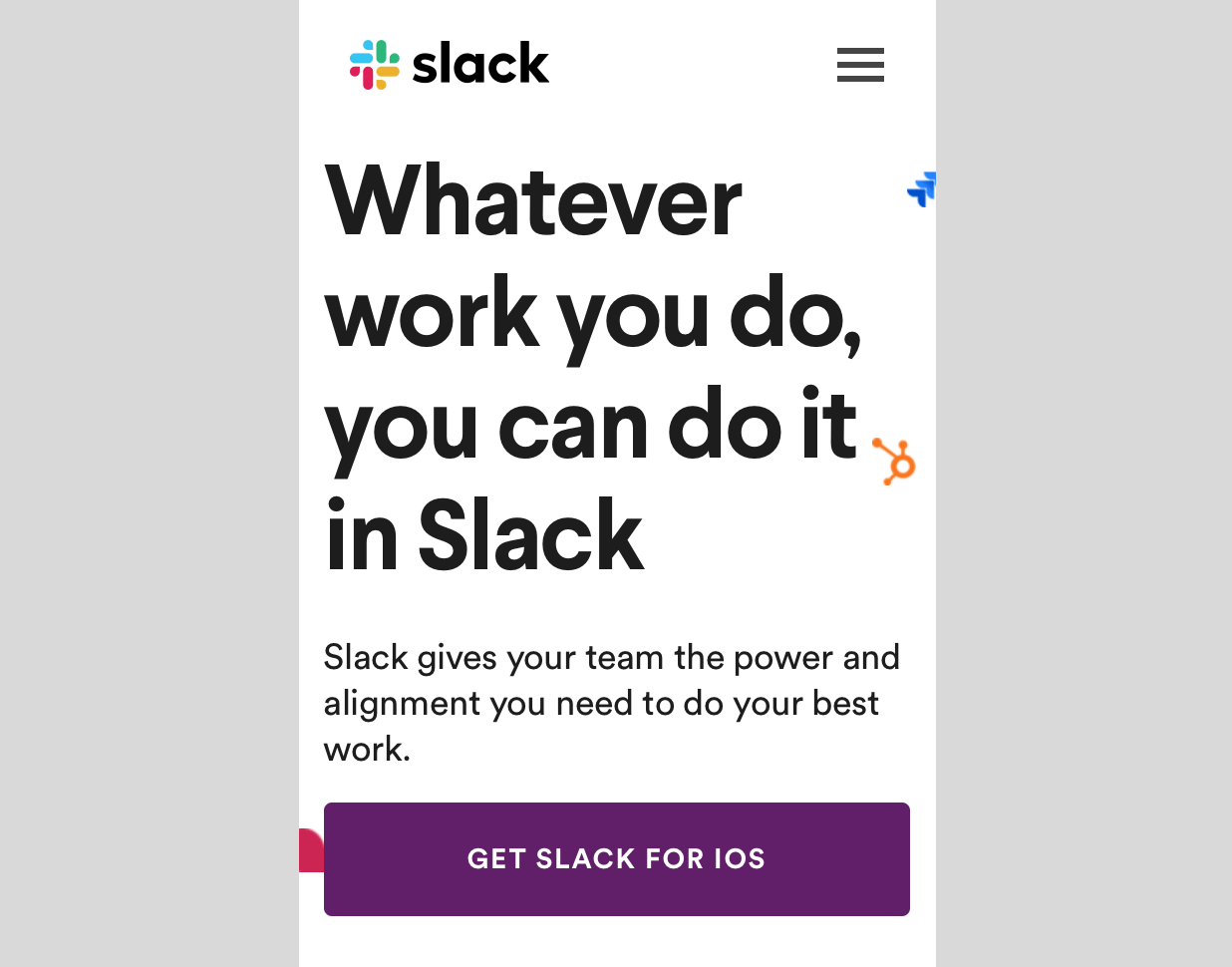L'appel mobile Slack à l'action.