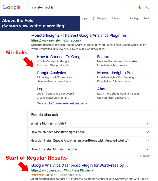 Google Sitelinks Above the Fold (immobilier numérique)