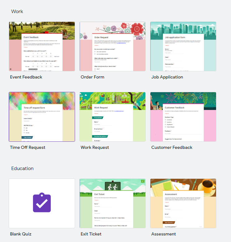Options de modèle Google Forms