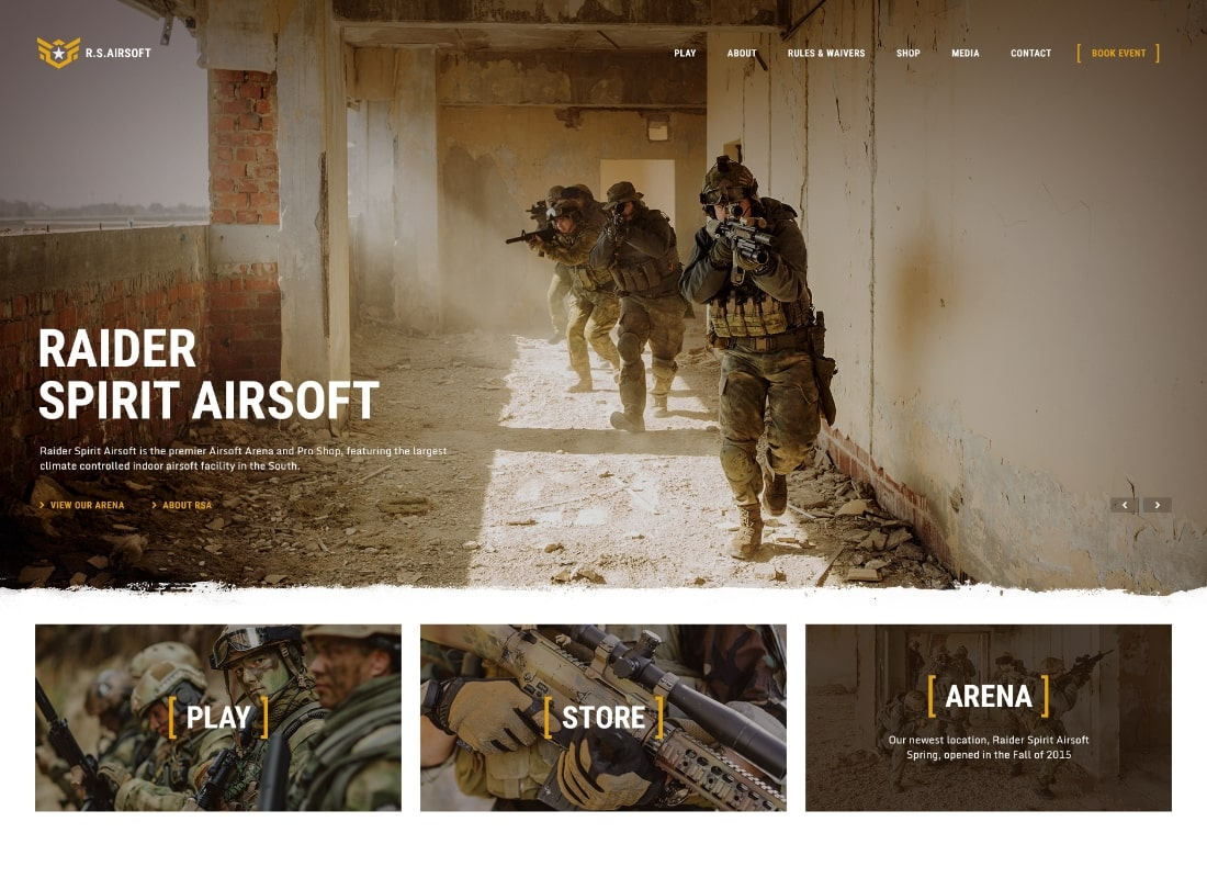 Raider Spirit | Thème WordPress Airsoft Club & Paintball