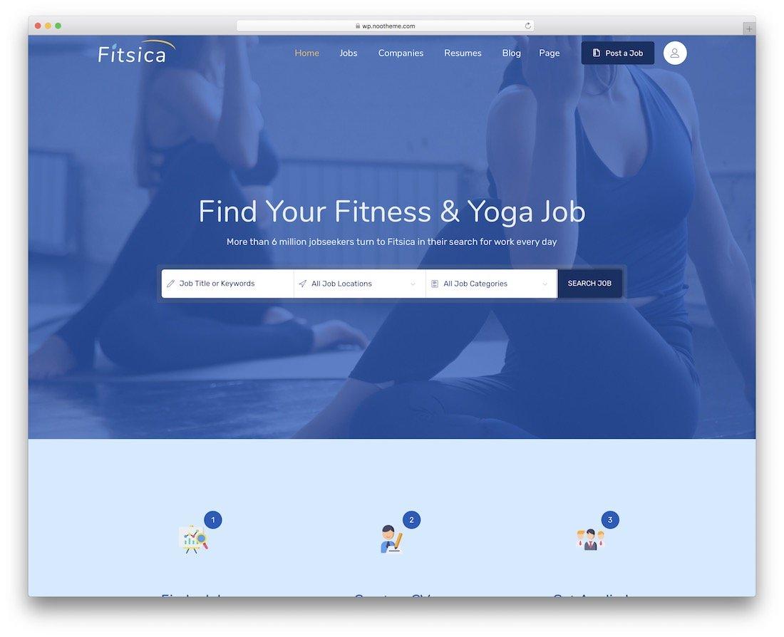 Thème du tableau des emplois Fitsica WordPress
