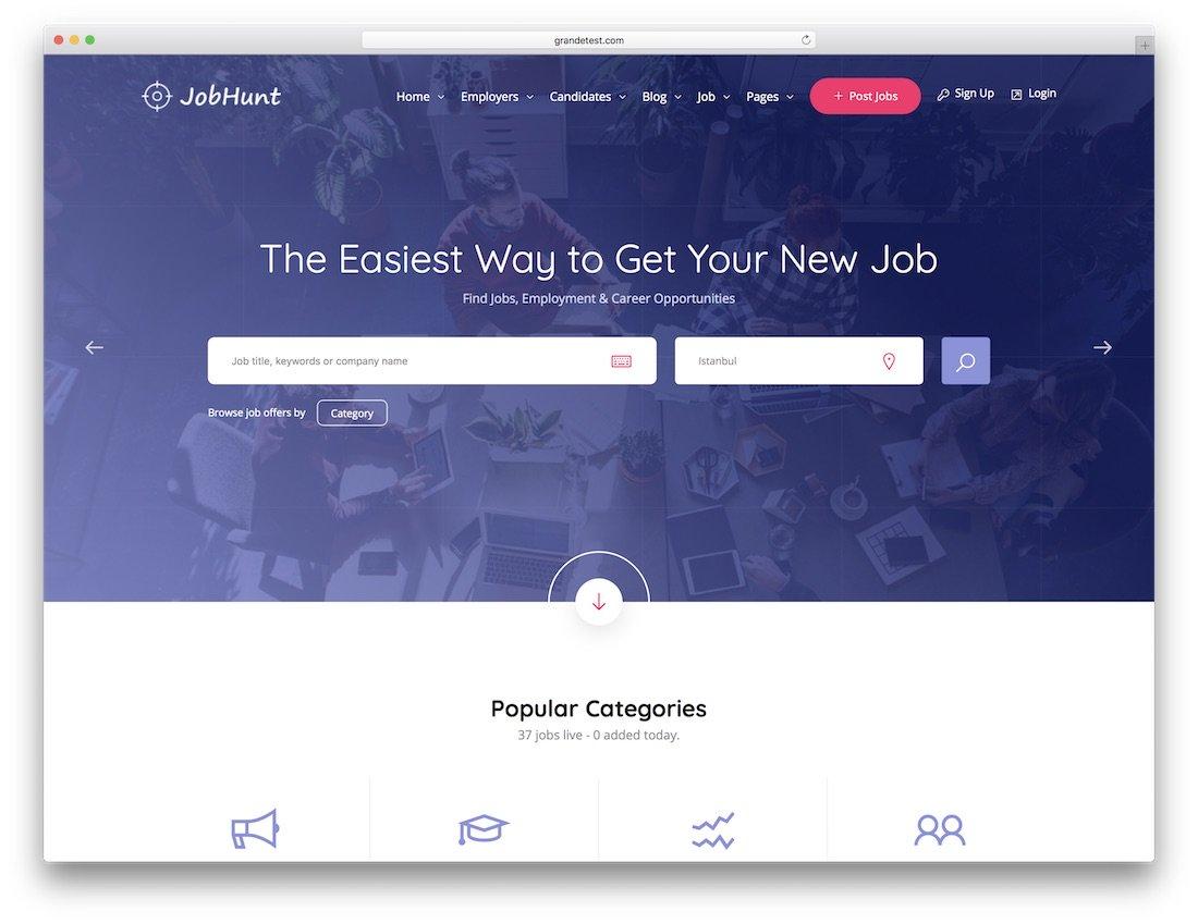 modèle de site web html5 jobhunt