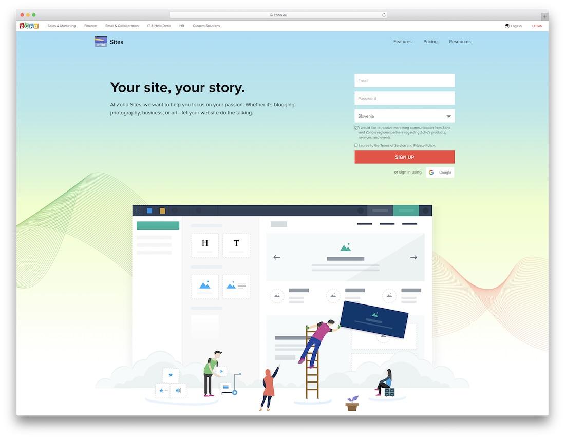 constructeur de site web zoho pour les blogs